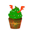 christmas and new year cupcake with deer horns vector image vector image