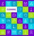cleaning line icons vector image vector image