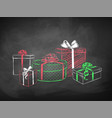 color chalk sketches gift boxes vector image