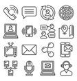 contact icons set on white background line style vector image vector image