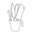 container with knives monochrome silhouette vector image vector image
