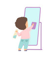 cute little boy cleaning mirror by rag adorable vector image vector image