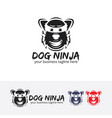 dog ninja logo design vector image