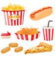 fastfood set with hotdog and popcorn vector image vector image