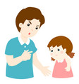 father scolds his daughter cartoon character vector image vector image