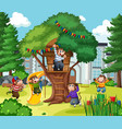 five little monkeys jumping in park scene vector image vector image