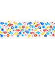flower border seamless red blue yellow pink vector image