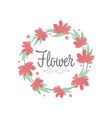 flower shop green and red colorful logo template vector image vector image