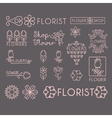 Flower Shop Icon and Lettering Set vector image vector image