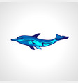 free diver and dolphin freediving color logo vector image vector image