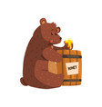 funny brown bear eating honey from wooden barrel vector image