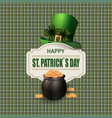 green hat two leaf clover pot with gold coins vector image vector image