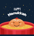 greeting card with funny hanukkah traditional vector image vector image