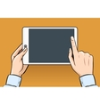 Hands holding and touching on digital tablet in vector image vector image