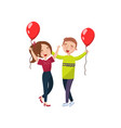 happy man and woman celebrating with red balloons vector image