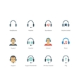 Headphones and headset color icons on white vector image vector image