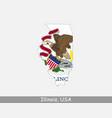 illinois usa map flag vector image vector image