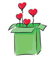 image box balloons -heart-shaped or color vector image