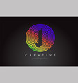 j letter logo design with colorful rainbow vector image vector image