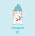 merry christmas card cute animal poster for xmas vector image vector image