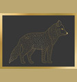 outline golden wolf icon on a black vector image