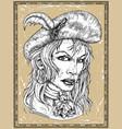 portrait beautiful pirate captain woman vector image