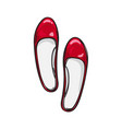 red ballerina flat shoes isolated vector image