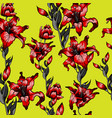 red lilies pattern seamless vector image vector image