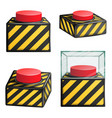 red panic button set isolated red alarm vector image vector image