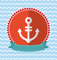 Sea anchor vintage card design Red and blue vector image