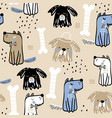seamless childish pattern with creative cute dogs vector image
