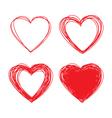 set hand drawn scribble hearts design elements vector image