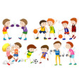 set of boys doing activites vector image vector image