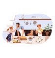smiling family cooking and trying dessert together vector image