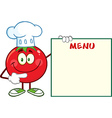 Smiling Tomato Chef Cartoon With a Sign vector image vector image