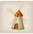 Traditional old windmill building single object vector image vector image