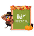 turkey thanksgiving on blank board vector image