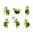 turtle cartoon tortoise mascot green comic vector image