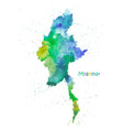 watercolor map myanmar stylized image vector image vector image