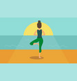 woman acts yoga silhouetted against the sunrise vector image