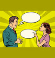 woman and man talking vector image vector image