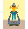 Woman virtual reality glasses on game platform vector image vector image