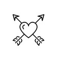 arrow heart icon valentines symbol love sign vector image