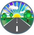 Paved road icon with green roadside curly bushes vector image