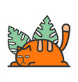 a red cat in green leaves vector image vector image