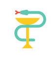 a snake twined around a chalice bowl hygieia vector image
