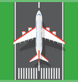 airplane on a runway in top view vector image vector image