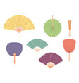 asian fans colored hand traditional fan set vector image