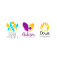 autism and down syndrome bright logo design set