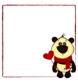background for postcard with panda and heart vector image vector image